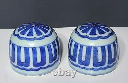 Paire De Vases En Porcelaine Chinoise Et Blanc / Tea Caddy Jars Kangxi 20e C