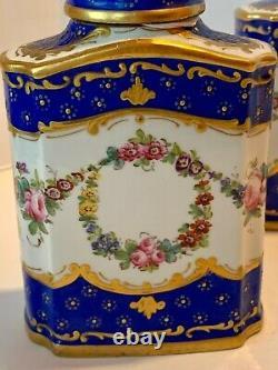 Paire French Hipped Blue Floral Swag Tea Caddy Avec Couverture Provenance C. 1915-30