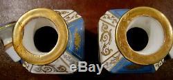Paire Sevres Français Bleu Porcelaine Bidons, Thé Caddy, Pot Apothicaire, Urne