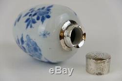 Parfait Chinois En Porcelaine Bleu Et Blanc Kangxi 18 C Argent Monté Teacaddy