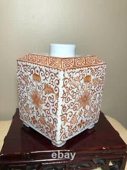 Porcelaine Antique Chinese Tea Caddy (pas De Couvercle)