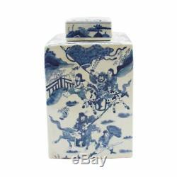 Porcelaine Bleue Et Blanche Carrée Scène Chinoise Guerrier Tea Caddy Jar 12