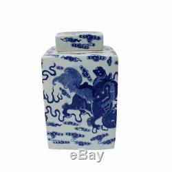 Porcelaine Bleue Et Blanche De Chien De Foo Motif Carré Thé Chinois Caddy Jar 10
