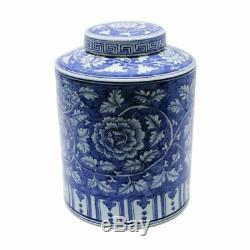Porcelaine Bleue Et Blanche Florale Motif Ronde Thé Caddy Pot 15