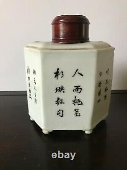 Porcelaine Chinoise Ancienne Peinte À La Main Eastern Beauty Tea Caddy Avec Rosewood LID
