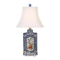 Porcelaine Chinoise Famille Pot Hexagonal Rose Tea Caddy Lampe De Table 24.5