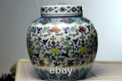 Porcelaine Chinoise Jar Yongzheng Doucai Floral Tea Caddie