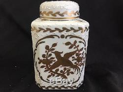 Porcelaine Émaillée Gilt Fabriqué En France Français Tea Caddy Jar Container Wow