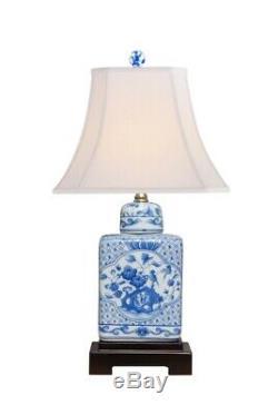 Porcelaine Florale Bleu Et Blanc Thé Caddy Jar Lampe De Table 18