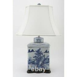 Porcelaine Orientale Chinoise Bleu Et Blanc Canton Rectangular Tea Caddy Lamp 31.5