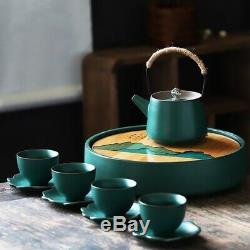 Porcelaine Traditionnelle Chinoise À Thé (glaçure Verte) Teapot Coupes Caddy