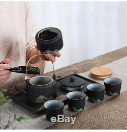 Porcelaine Traditionnelle Chinoise À Thé (noir, Décoré) Teapot Coupes Caddy