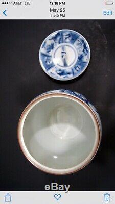 Pot Antique Ginger Tea Caddy Bleu Blanc Porcelaine Paysage Arita Lidded Eau