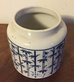 Pot Antique Porcelaine Vase Chinois Ou Thé Caddy Bleu Et Bambou Blanc Design