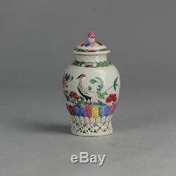 Rare Antique Porcelaine Chinoise 1750 Teacaddy Oiseaux Famille Rose Qing