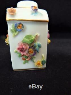 Rare Antique Porcelaine Meissen Allemagne Fleur Incrustées Tea Caddy 1890