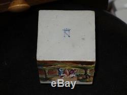 Rare Fin 19ème. Siècle Peint À La Main Relief Capodimonte À Thé En Porcelaine Caddy