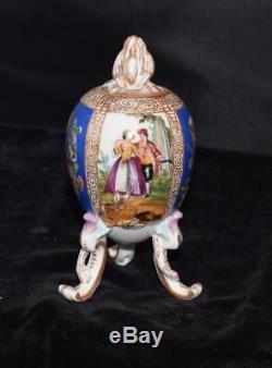 Rare Kpm Porcelaine 3 Oeufs Legged En Forme De Thé Ou Caddy Urne Avec Couvercle B-decores