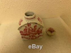 République Ère Chinois Exportation À Thé En Porcelaine Caddy Famille Main Rose Peinte