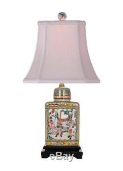 Rose Canton Thé En Porcelaine Caddy Lampe Avec Abat-jour Et Fleuron