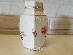 Royal Crown Derby À Thé En Porcelaine Caddy Avec Bordure Dorée Et Des Décorations Florales