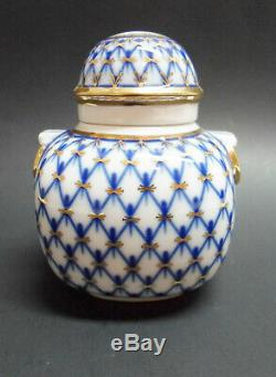 Russe Imperial Lomonosov À Thé En Porcelaine Caddy Cobalt Canister Net