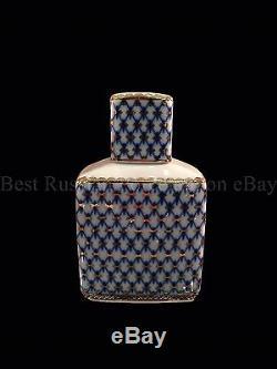 Russe Imperial Lomonosov À Thé En Porcelaine Caddy Cobalt Net 22k Or La Russie
