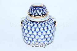 Russe Imperial Lomonosov À Thé En Porcelaine Caddy Cobalt Net 22k Or Rare Russie