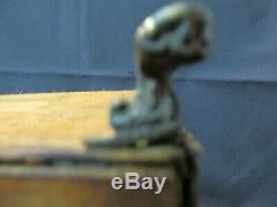 S38 Antique En Bois Marqueté Welsh Tea Caddy Brass Footed Bol En Porcelaine Unusual