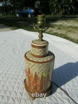 Satsuma Porcelaine Japon Lampe Ginger Jar Thé Caddy Craquelure Base Or Doré Iris