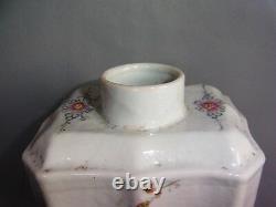 Signé Antique Porcelaine Chinoise Lobbed Tea Caddy Ou Container Daoguang Période