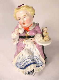 Staffordshire Figural Tea Caddy Lady In Lavendar Robe Prendre Le Thé