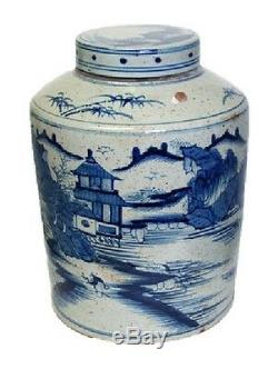 Style Vintage Bleu Et Blanc Bleu Saule À Thé En Porcelaine Caddy Pot 16