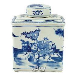 Style Vintage Bleu Et Blanc Chinois À Thé En Porcelaine Caddy Jar Guerrier Motif 14