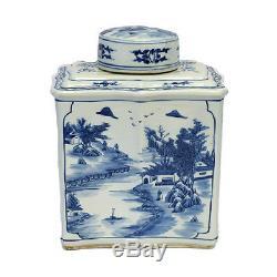 Style Vintage Bleu Et Blanc Chinois À Thé En Porcelaine Caddy Jar Paysage Motif 14