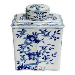Style Vintage Bleu Et Blanc Chinois À Thé En Porcelaine Caddy Pot Oiseaux Motif 14
