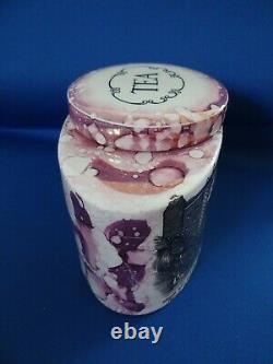 Sunderland Pink Lustre Splash Tea Caddy Sud Vue De La Marchandise De Transfert De Pont De Fer