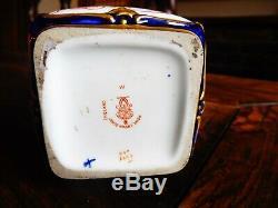 Superbe Edwardian Royal Crown Derby Imari À Thé En Porcelaine Caddy 6299