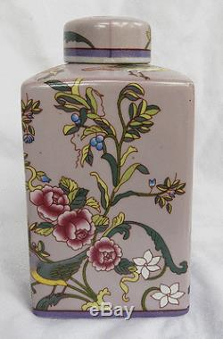 Superbe Émaillé Porcelaine Chinoise Tea Caddy Début Du 20e Siècle