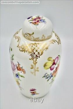 Superbe Nymphenburg German Porcelain Tea Caddie Peint À La Main Fleurs