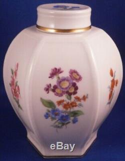 Superbe Porcelaine De Meissen Hexagonal Design Lidded Tea Caddy Pot Porzellan Teedose