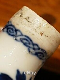 Thé Antique Jante Argent Chinois Caddie Vase Période Kangxi Qianlong Porcelaine Porcelaine
