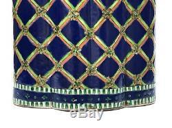 Thé Chinois Caddy Bleu Cobalt Famille Verte Porcelaine Lobed Pot Couvert