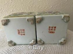 Une Paire De Porcelaine Chinoise Antique Famille Rose Décoré Thé Caddies
