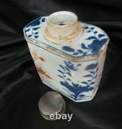 Vieux Thé En Porcelaine Caddy Japonais Ou Chinois Solid Silver Haut / Une Certaine Rugosité De L'âge