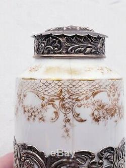 Vintage Anglais En Argent Sterling Et Thé En Porcelaine Avec Caddy Oiseaux & Chérubins 10249