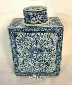 Vintage Bleu Chinois Et Blanc Porcelaine Lotus Tea Caddy Avec Couvercle 18/19 C Qing