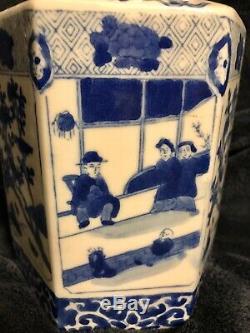 Vintage Chinese Porcelain Hexagonal Gingembre Bleu Et Blanc Jar Pot Tea Caddy 9
