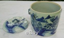 Vintage Chinois Bleu Et Blanc Thé Caddy Porcelaine, Canister, Pot Couvert
