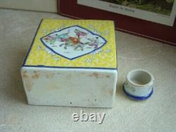 Vintage Chinois Multicolore Porcelaine Covered Tea Caddy Jar